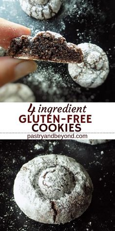 Gluten Free Chocolate Crinkle Cookies-You'll love these delicious and easy to make 4 ingredient gluten free chocolate cookies! These from scratch flourless cookies are soft and chewy! Gluten Free Chocolate Cookies, Flourless Chocolate Cookies, Cocoa Cookies, Chocolate Crinkle Cookies, Chocolate Crinkles, Gluten Free Treats, Gluten Free Cookies, Delicious Cookie Recipes, Dog Food Recipes