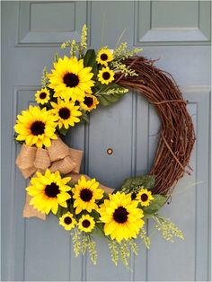 Sunflower Front Door Wreath - Sunflower Wreath - Spring Sunflower Wreath - Sunflower Decoration - Sunflower Door Hanger by WallflowersbyKerri on Etsy (summer door wreaths mom) Summer Door Decorations, Summer Door Wreaths, Wreaths For Front Door, Holiday Wreaths, Spring Wreaths, Sunflower Door Hanger, Sunflower Wreaths, Sunflower Decorations, Sunflower Crafts