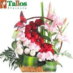 Arreglos florales - Canasta de rosas y liliums