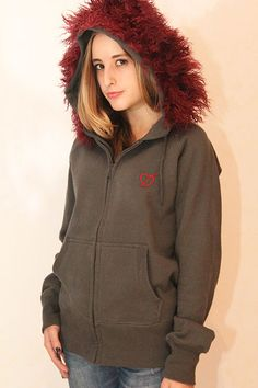 Unique piece: grey hoodie with vintage fur and application, only one available, size medium, vintage fur on the hood and vintage application on the back