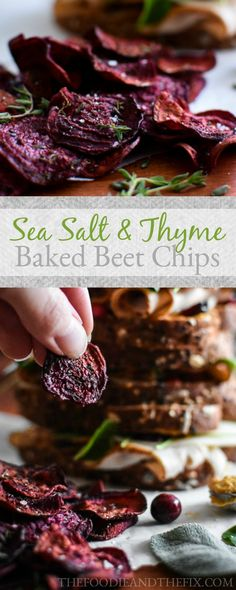 21 Day Fix Sea Salt And Thyme Baked Beet Chips - Super simple side recipe to pair with your fav sandwich! Healthy, Paleo, Vegetarian, Vegan & Gluten-Free!