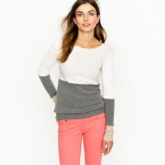 neutral colorblock sweater; especially loving the three toned sleeves