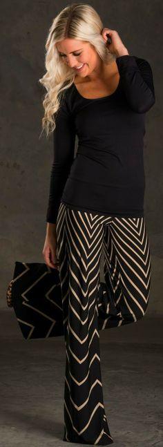 Black and tan chevron palazzo pants | LBV ♥✤