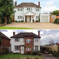 Home Exterior Makeover, Exterior Remodel, House Extension Design, House Design, Extension Ideas, Side Extension, Glass Extension, 1930s House Exterior Uk, Modern Bungalow Exterior