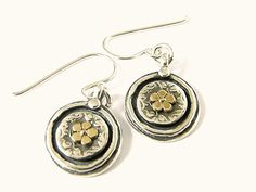 SHABLOOL IL 925 Sterling Silver and 9k Gold Round with Flower Earrings
