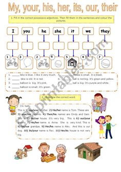 Possessive adjectives and pronouns pages) - ESL worksheet by Larisa. English Grammar For Kids, English Lessons For Kids, English Vocabulary, Teaching English, Nouns And Pronouns, Adjective Worksheet, Pronoun Worksheets, Prepositions, 8th Grade English