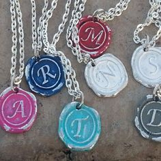 Distressed Wax Seal Intial Pendant