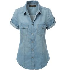 LE3NO Womens Cuffed Short Sleeve Chambray Denim Shirt ($12) ❤ liked on Polyvore featuring tops, short sleeve shirts, chambray button down shirt, short sleeve denim shirt, denim shirt and blue button down shirt