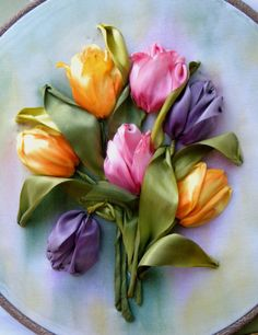 Colourful tulips #ribbonEmbroidery