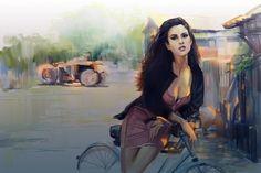 Wallpaper art, painted girl, glance, street, bike wallpapers ...