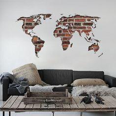 Adesivo de Parede Mapa Mundi Tijolo …