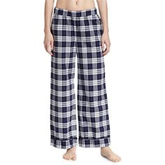 Skin Plaid Wide-Leg Pants ($110) ❤ liked on Polyvore featuring pants, blue plaid, cotton pants, wide-leg trousers, plaid trousers, stretch waist pants and wide leg cotton pants