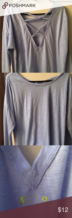 9502a5167fcda Baby blue lounge athletic top Super comfy!!! Beautiful back criss cross  design.
