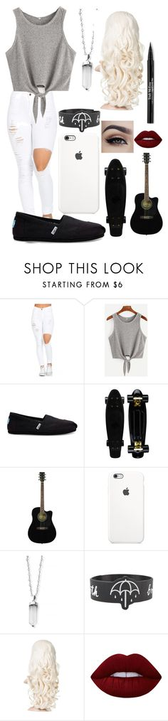 """""""Untitled #627"""" by mriss-abbrie ❤ liked on Polyvore featuring TOMS, ChloBo, Lime Crime and Trish McEvoy"""