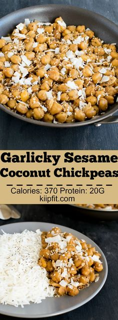 Garlicky Sesame Chickpeas with Coconut - 15 minutes vegan and gluten free entree tastes best when paired with steamed rice   kiipfit.com