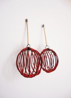 Stacey Bentley - Red & Gold Drop Earrings; silver, 18ct red gold, iron, enamel