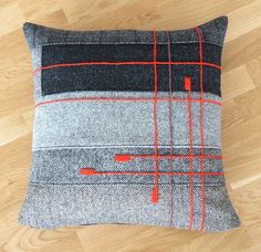 embroidered patchwork Harris Tweed cushion cover