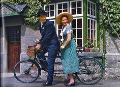 John Wayne and Maureen O'Hara ride a bike in The Quiet Man, 1952