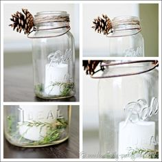 Pottery Barn knock-off Mason Jar with twine, pinecones and candle.