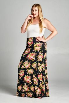 5e4b065d2369d ASHLEY PLUS SIZE FLORAL MAXI SKIRT Maternity Shorts