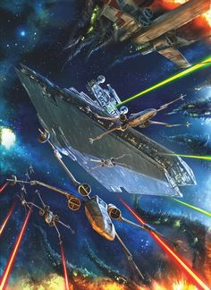 Star Destroyer and X-Wing battle
