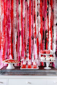 Ruffles- sew two colors of streamers together with a big stitch.