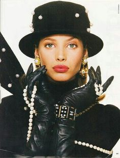 Vintage Christy Turlington in gloves