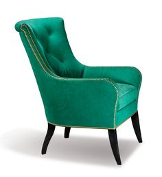 "Hancock & Moore- Evie Chair The Evie Chair, upholstered in Lana Emerald leather that's been laser cut to capture the feel of suede, exudes feminine charm with its gilt nail heads and slender legs in black Java wood finish. H: 42.5"" W: 32"" D: 38.25"" #HPmkt"