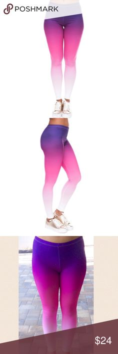 🆕Purple pink ombré leggings/yoga pants Brand new. Will fit size 6/8. Material is stretchy and is made of polyester and spandex. ‼️Please ❌trade and ❌offers. Price is firm unless bundled.‼️ Elegance Pants Leggings