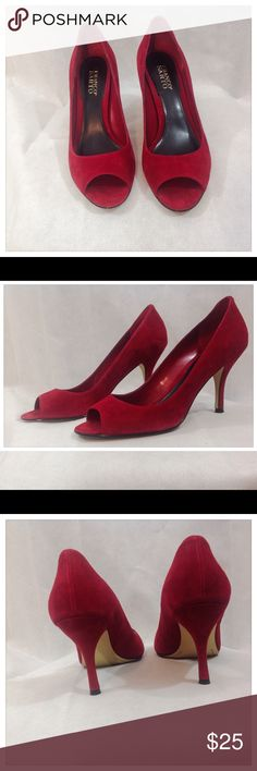 "Red Suede Franco Sarto Pumps Red Franco Sarto pumps with peep toe and 4"" heels. In good condition. Original box not included. Franco Sarto Shoes Heels"