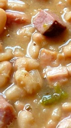 White Beans and Ham Southern-Style White Beans and Ham ❊- soak beans 24 hours before cooking; make sure ham is SCDSouthern-Style White Beans and Ham ❊- soak beans 24 hours before cooking; make sure ham is SCD Pork Recipes, Crockpot Recipes, Crockpot Ham And Beans, Ham Bone Recipes, Beans And Sausage, Recipies, Hamburger Recipes, Barbecue Recipes, Rice Recipes