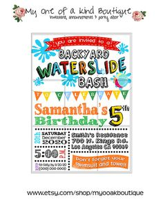 Waterslide birthday Party invitation summer pool by myooakboutique