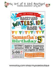 Waterslide birthday Party invitation summer pool party water slide digital printable invitation DIY your print invite 13481
