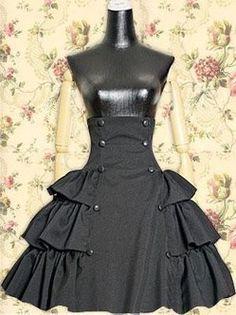 Black Buttons Ruffle Gothic Lolita Skirt