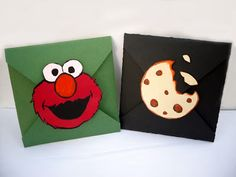 cookie monster and elmo envelope card