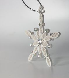 Bling Quilled White Snowflake Ornament by loveinenvelope