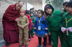 With young students at the Dayanand Anglo-Vedic School in Ghaziabad, India on January 27, 2015. Photo Tenzin Choejor  #dalailama