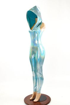 Seafoam Holographic Sleeveless Hooded Catsuit by CoquetryClothing