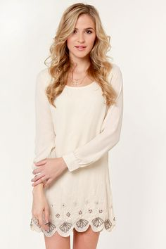 Beautiful Beaded Dress - Cream Dress - Shift Dress - $62.00