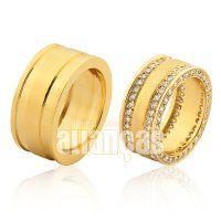 Alianças de Noivado e Casamento em Ouro Amarelo 18k 0,750  - FA-1009