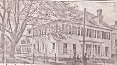 """From the Germantown Courier; Wednesday, October 31st, 2007.  """"These twin houses at 4828 (later 5528) Germantown Avenue, beloved Maplewood Avenue, were built by Benjamin Lehman, who had a large lumber yard behind them.  Shown around 1903, the houses were built in 1849 and demolished in the early 1900s."""""""