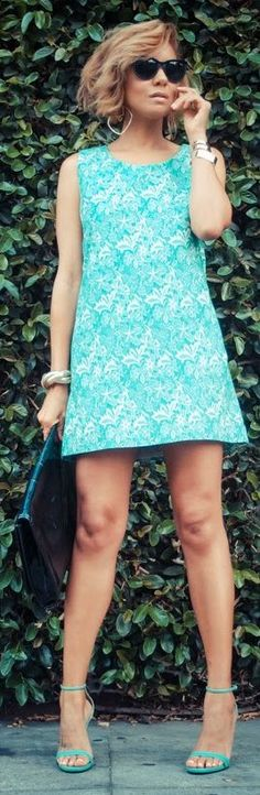 Babel Fair Green And White Lace Mini Shift Dress                                                                             Source
