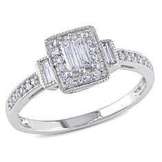 Shop for Miadora 1/3 CT Parallel Baguette and Round Diamonds TW Engagement Ring…