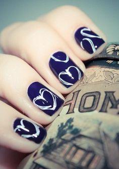 White Heart Trace, Navy Blue Base #nail http://pinterest.com/ahaishopping/