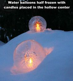 water balloons half frozen with candles placed in hollow center