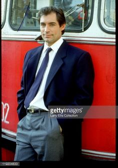 Welsh actor Timothy Dalton on the set of the James Bond film 'The Living Daylights', Great Britain, 1986.