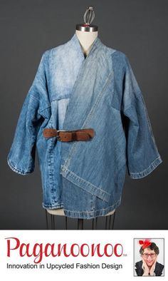 """DIY sewing instructions for unisex """"BORO Style Jean Jacket"""" by Paganoonoo. Recycle denim jeans into timeless kimono shaped jean jacket. - Boro-inspired Jean jacket is an art-style piece to wear. Kimono Fashion, Denim Fashion, Fashion Women, Ropa Upcycling, Pinterest Design, Diy Vetement, Mode Jeans, Jacket Pattern, Boro"""