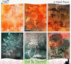 "Ombre Vintage Grungy Flowers Instant Download by JustBYourself.  Grungy orange and green ombre hues with vintage flower illustration overlays are featured on these digitally painted printable art journal papers. Instant download collection of 6 - 8.5"" x 11"" papers. (1144) $2.75"