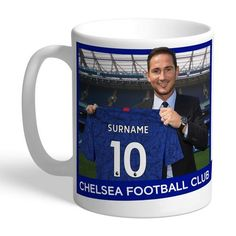 Personalised Ceramic Mug - Football Club Manager Club Chelsea, Chelsea Fc, Chelsea Football, My Sister Birthday, Birthday Gifts For Sister, Personalized Football, Personalized Bridesmaid Gifts, Dad Mug, Fathers Day Gifts
