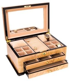 Organize your treasures in an efficient way with this amazing BEY-BERK Birdseye Maple Lacquered Wood Jewelry Box with Gold Accents and Locking Lid. Jewelry Box With Lock, Jewelry Chest, Jewelry Armoire, Jewelry Holder, Locking Jewelry Box, Necklace Holder, Jewelry Bracelets, Luxury Jewelry, Modern Jewelry